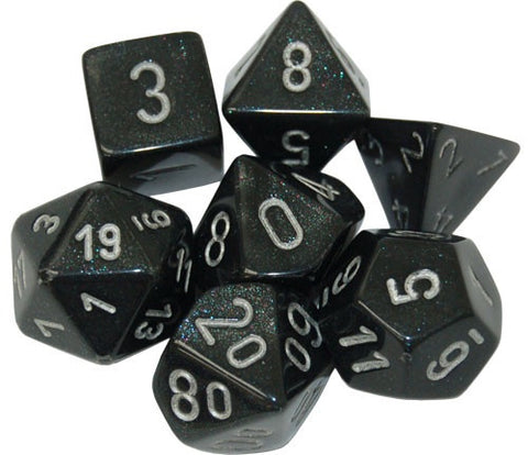 CHESSEX 7 DIE POLYHEDRAL DICE SET: BOREALIS SMOKE WITH SILVER