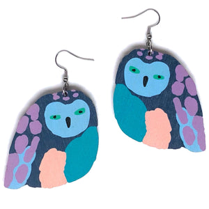 Birdie - Birch Plywood Earrings (multiple colour choices)