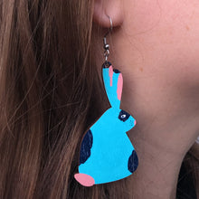 Load image into Gallery viewer, Bunny - Birch Plywood Earrings (multiple colour choices)