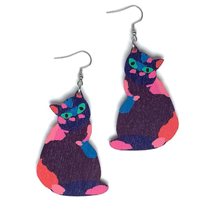 Cat - Birch Plywood Earrings (multiple colour choices)