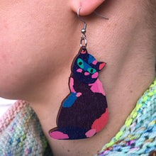 Load image into Gallery viewer, Cat - Birch Plywood Earrings (multiple colour choices)
