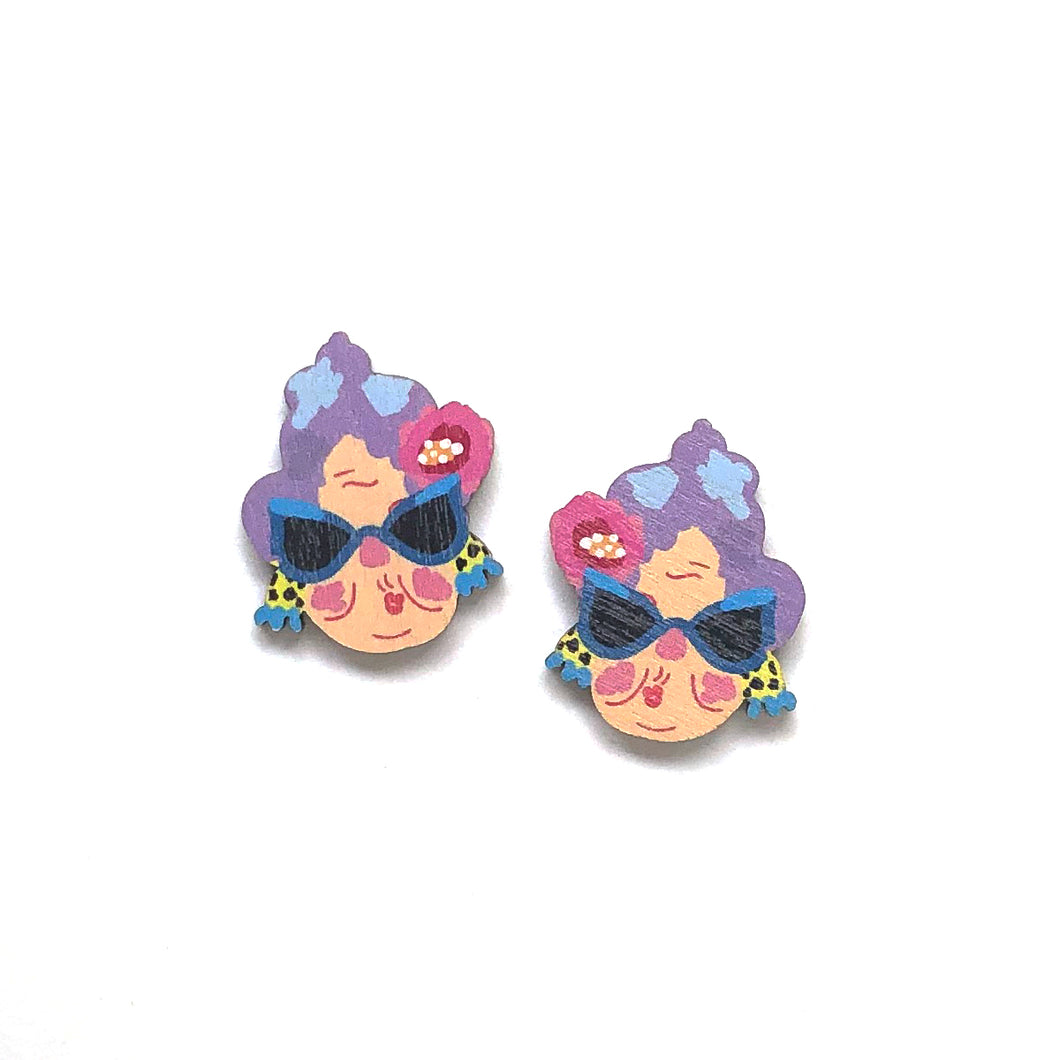 Crazy Granny - Birch Plywood Stud Earrings