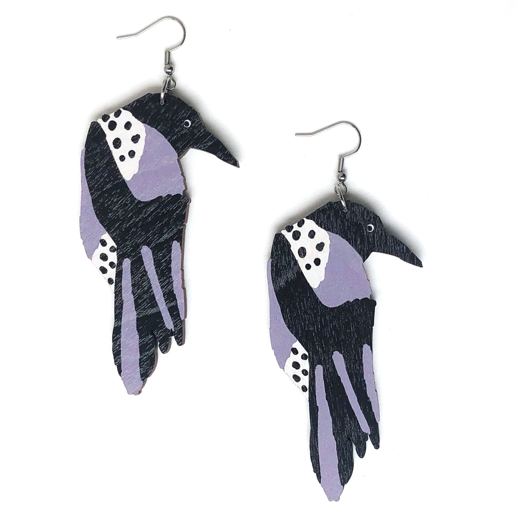 Crow- Birch Plywood Earrings