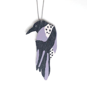 Crow - Birch Plywood Necklace