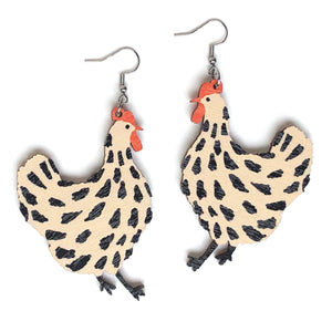 Chicken - Birch Plywood Earrings