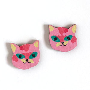 Kitty - Birch Plywood Stud Earrings (multiple colour choices)