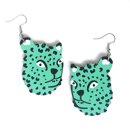Leopard - Birch Plywood Earrings (multiple colour choices)