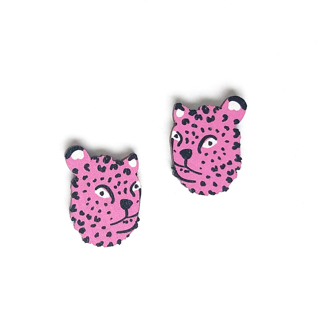 Leopard - Birch Plywood Stud Earrings (multiple colour choices)