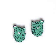 Load image into Gallery viewer, Leopard - Birch Plywood Stud Earrings (multiple colour choices)