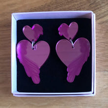 Load image into Gallery viewer, Love - Pink Mirror Acrylic Earrings
