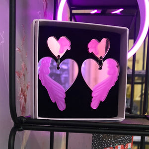 Love - Pink Mirror Acrylic Earrings