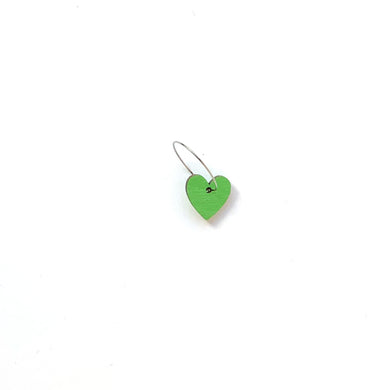 Heart - Birch Plywood Earrings - Hoops