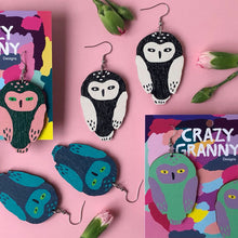 Load image into Gallery viewer, Owl -Birch Plywood Earrings (multiple colour choices)