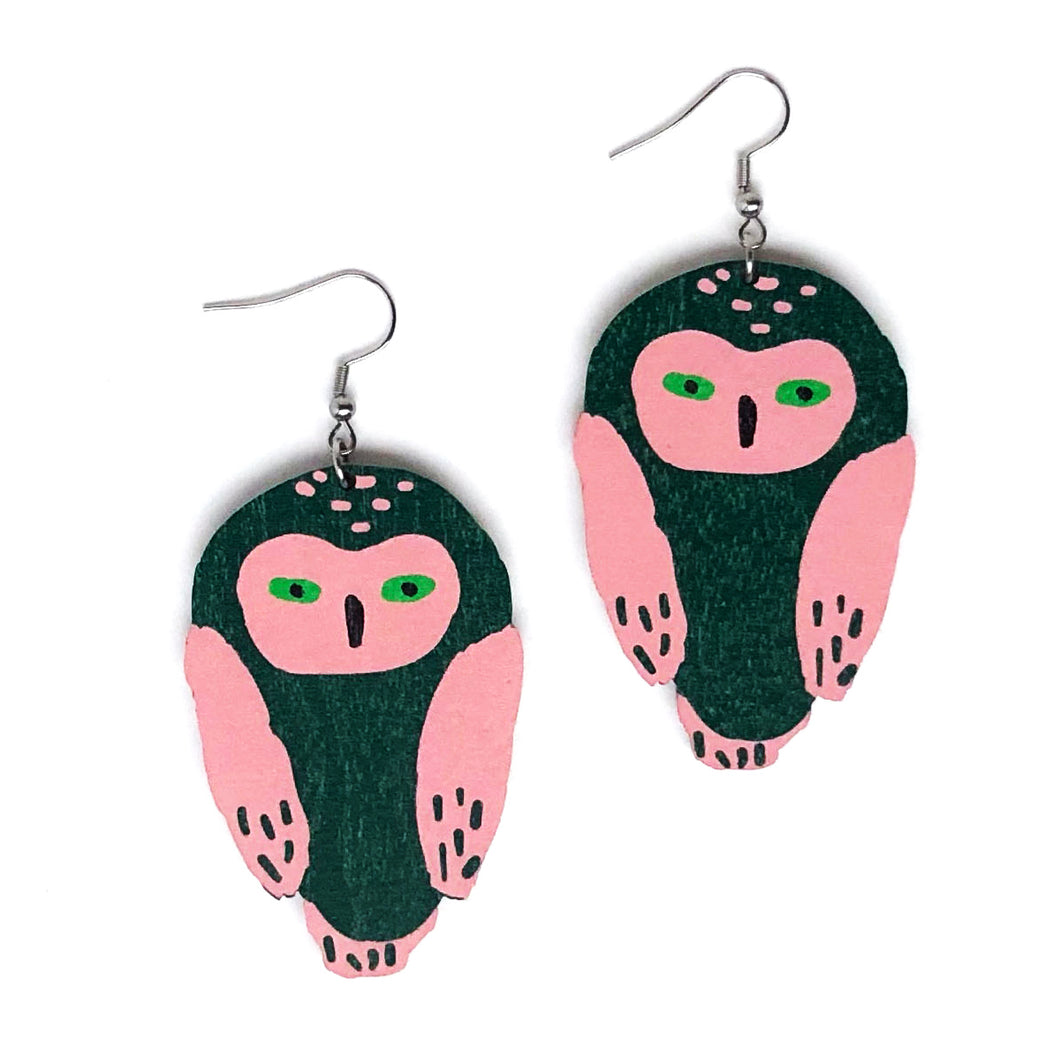 Owl -Birch Plywood Earrings (multiple colour choices)