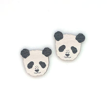 Load image into Gallery viewer, Panda - Birch Plywood Stud Earrings