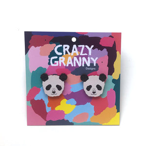 Panda - Birch Plywood Stud Earrings