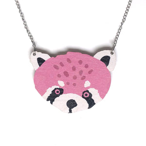 Red Panda - Birch Plywood Necklace