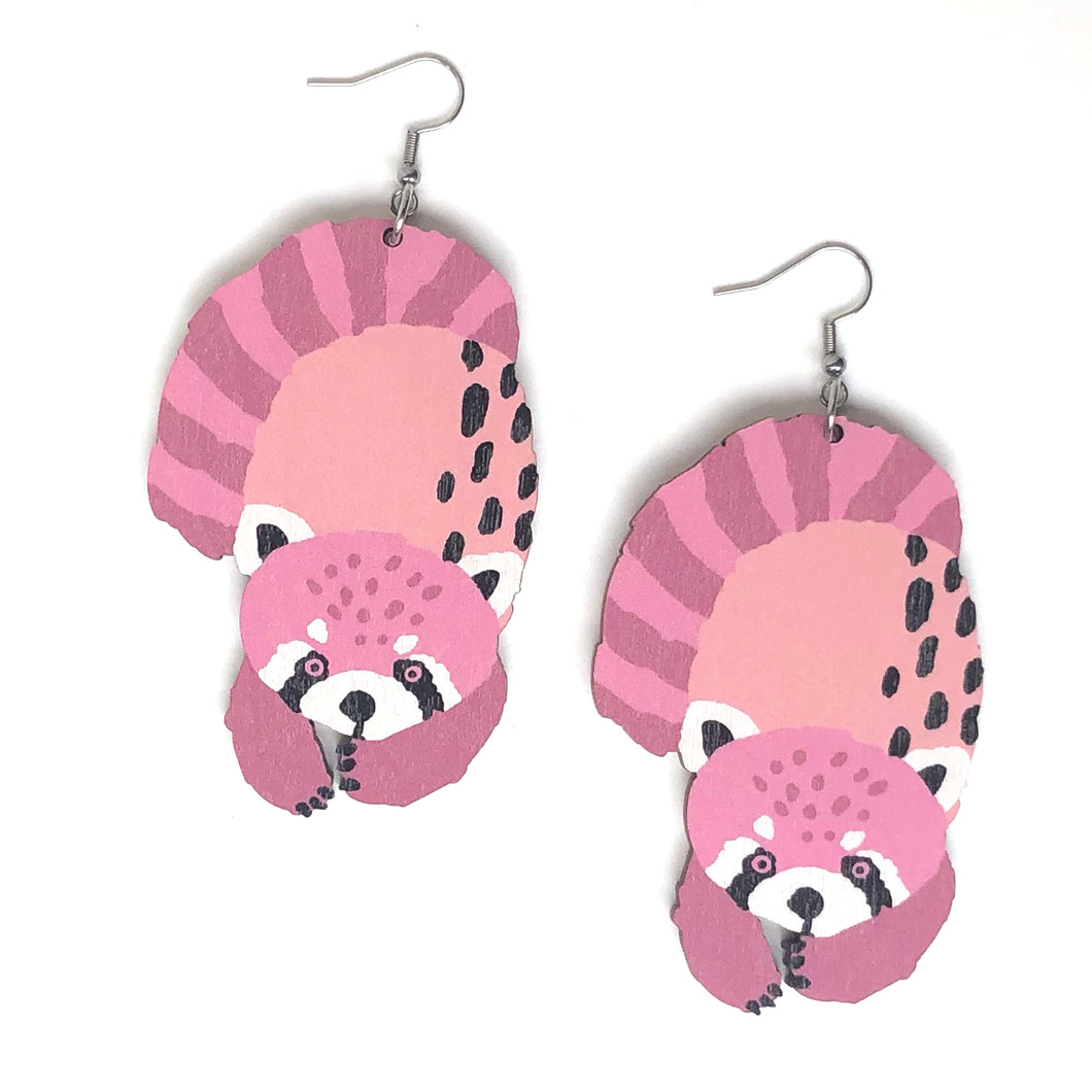 Red Panda - Birch Plywood Earrings