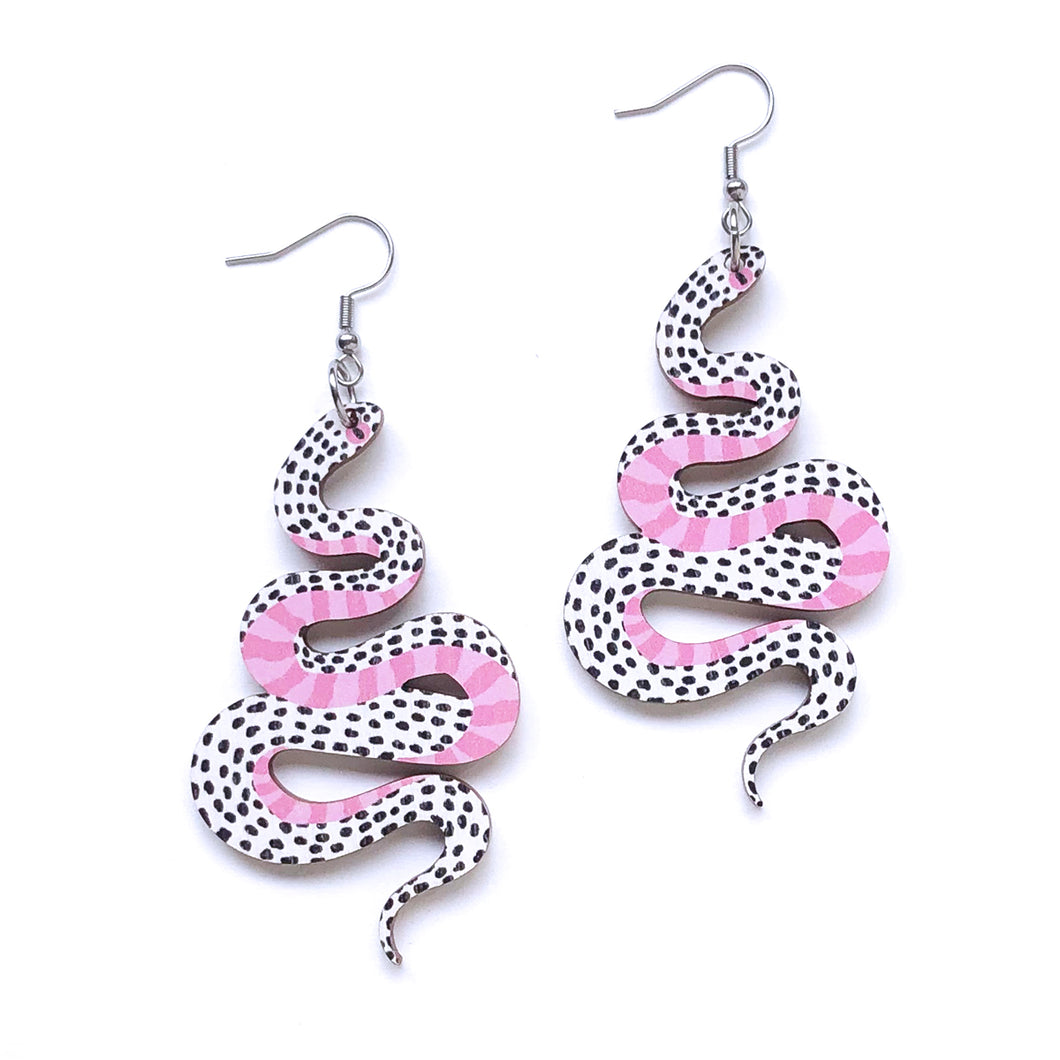 White Snakes - Birch Plywood Earrings