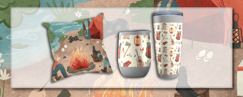 happy camper collection drop #1 - cushion, wine and coffee tumblers shown over original camping illustration