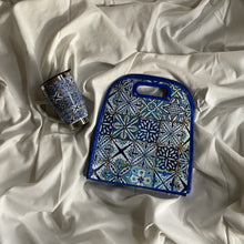 Load image into Gallery viewer, lunch bag with batik traditional indian print in blue, laying on white dreamy sheet with same style mug