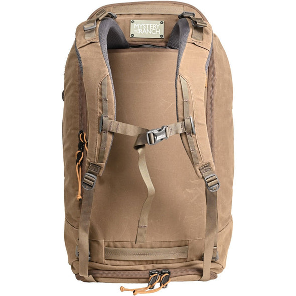 Mystery Ranch Mission Duffel Travel Bag (Wood Waxed) Showing Backpack Straps