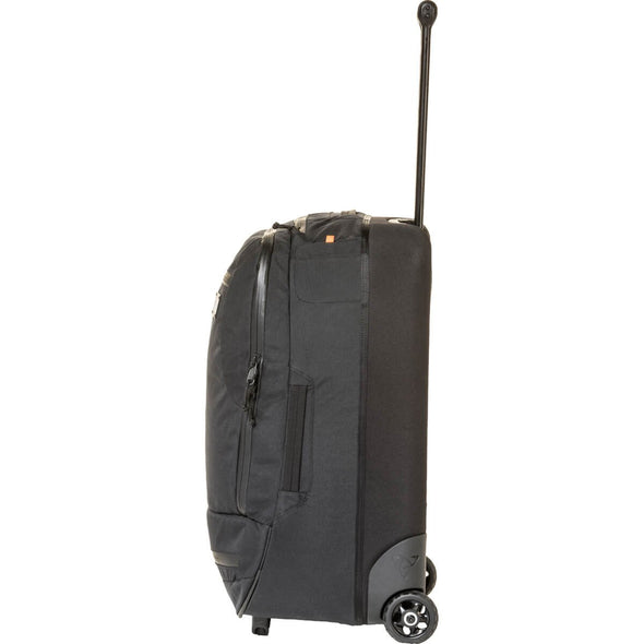 Mystery Ranch Mission Wheelie Suitcase (black) with Pull Handle Extended Side View