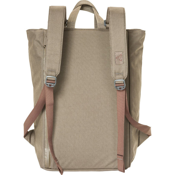 Mystery Ranch Booty Deluxe Tote Day Pack (Wood) Rear View with Backpack Straps