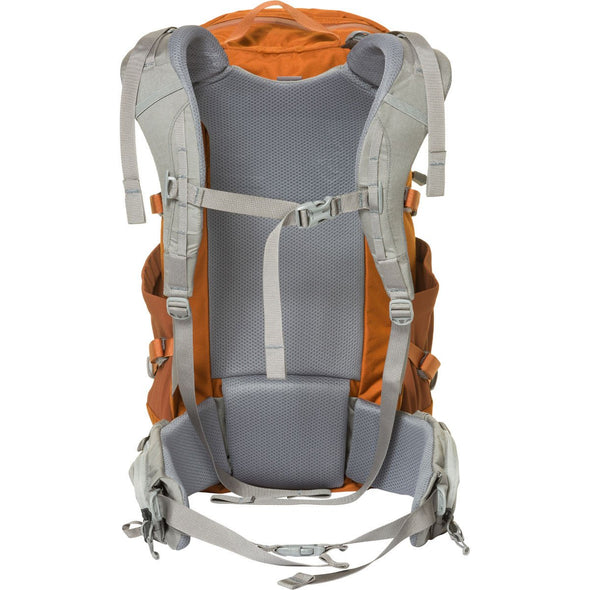 Mystery Ranch Coulee 25 Day Pack (Adobe Orange) Rear View with Harness