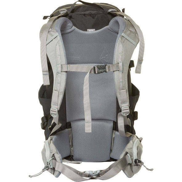 Mystery Ranch Coulee 25 Day Pack (Black) Rear View with Harness