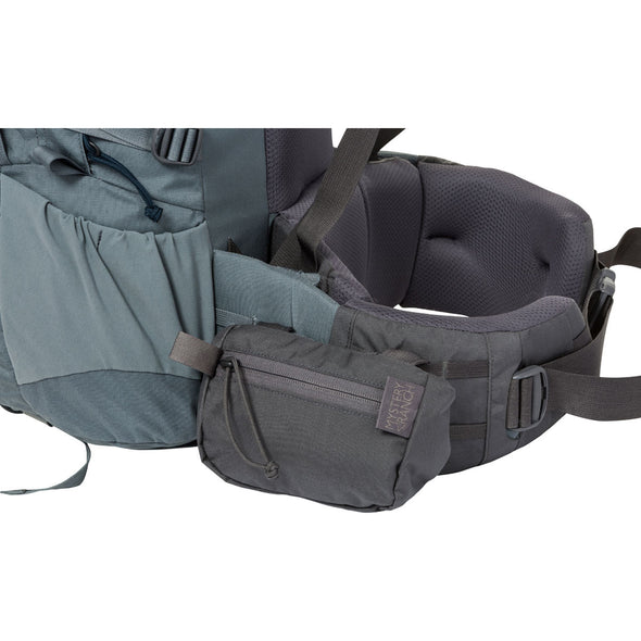 Mystery Ranch Forager Pocket Accessory Shown Attached to Backpack Belt