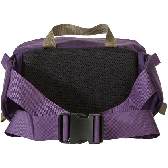 Mystery Ranch Hip Monkey Waist Pack (Eggplant) Rear View with Belt and Buckle