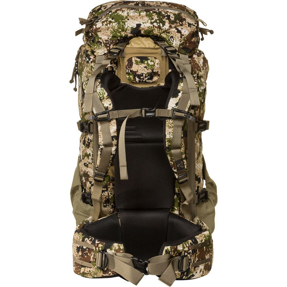 Mystery Ranch Metcalf Backpack (Optifade Subalpine DPM Camo) Rear View with Harness