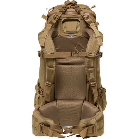 Mystery Ranch Pintler Overnight Backpack (Coyote) Rear View with Removable Harness