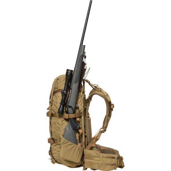 Mystery Ranch Pintler Overnight Backpack (Coyote) with Hunting Rifle