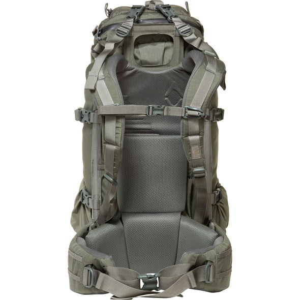 Mystery Ranch Pintler Overnight Backpack (Foliage) Back View with Harness
