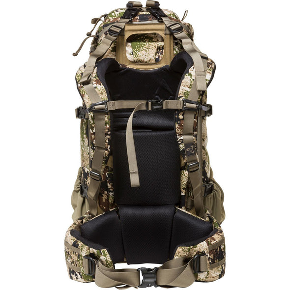 Mystery Ranch Pintler Overnight Backpack (Optifade Subalpine DPM Camo) Rear View with Removable Harness