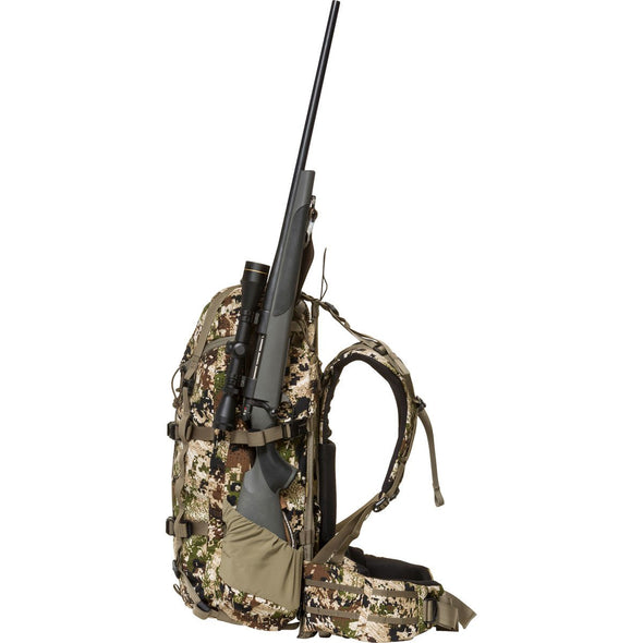 Mystery Ranch Pintler Overnight Backpack (Optifade Subalpine DPM Camo) with Hunting Rifle