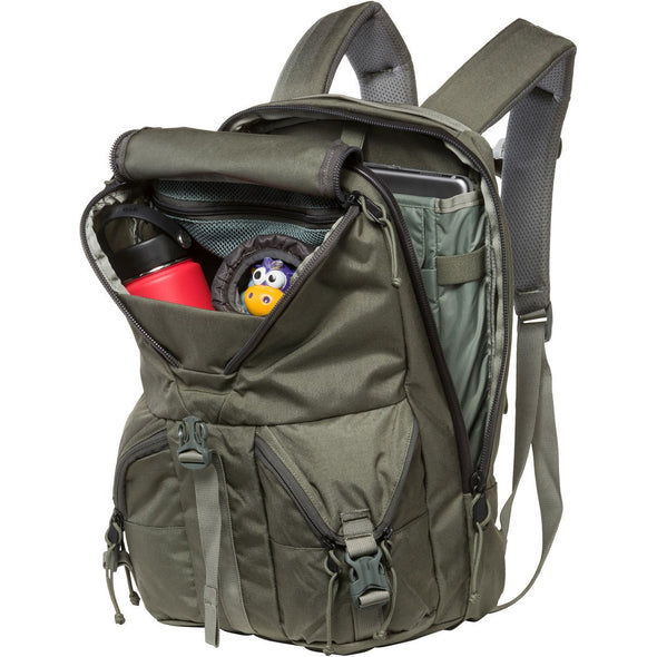 Mystery Ranch Rip Ruck Day Pack (Foliage) Open Showing Various Storage Pockets