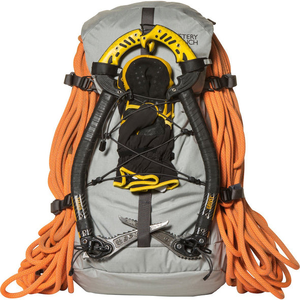 Mystery Ranch Scepter 35 Alpine Day Pack (Mist) with Ropes and Ice Climbing Axes Attached