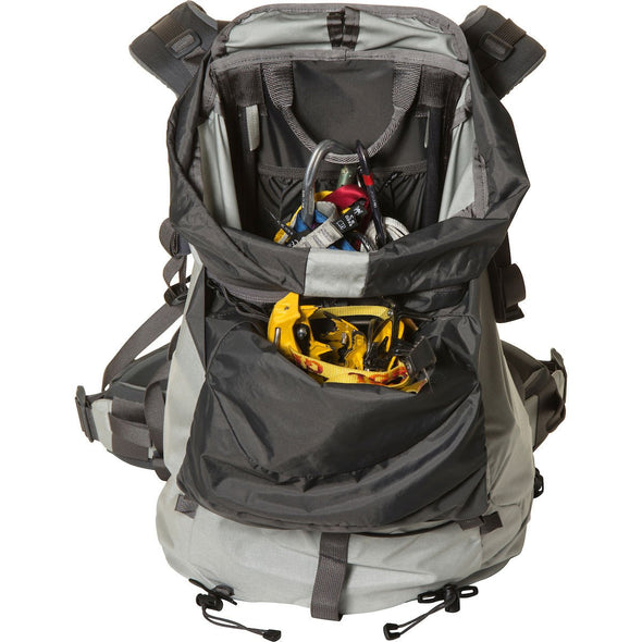Mystery Ranch Scepter 35 Alpine Day Pack (Mist) Open Compartment with Ice Climbing Tools