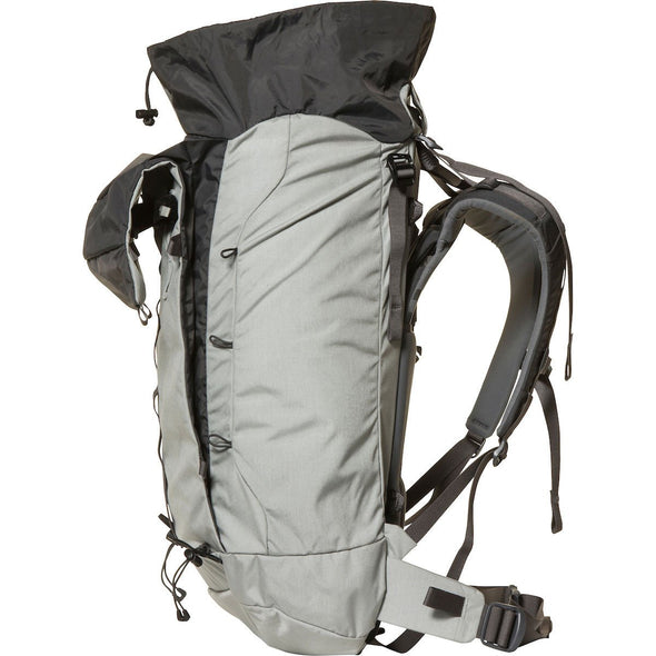 Mystery Ranch Scepter 35 Alpine Day Pack (Mist) Side View with Expanding Pocket