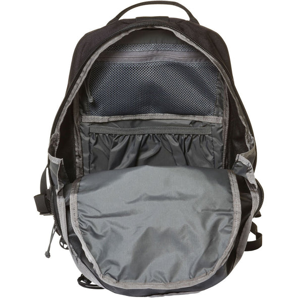 Mystery Ranch Skyline 17 Rock Climbing Day Pack (Black) Front View of Zipper Opening