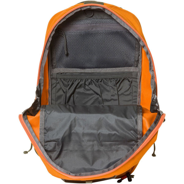 Mystery Ranch Skyline 17 Rock Climbing Day Pack (Tiger Orange) Front View of Zip Opening