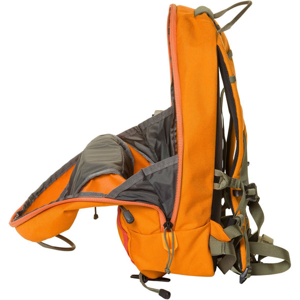 Mystery Ranch Skyline 17 Rock Climbing Day Pack (Tiger Orange) Side View of Zipper Opening