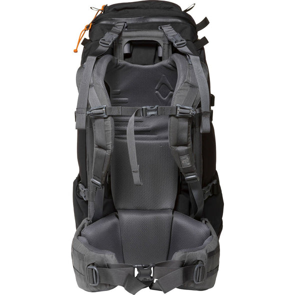 Mystery Ranch Terraframe 3-Zip 50 Mountaineering Backpack (Black) Rear View of External Frame and Harness