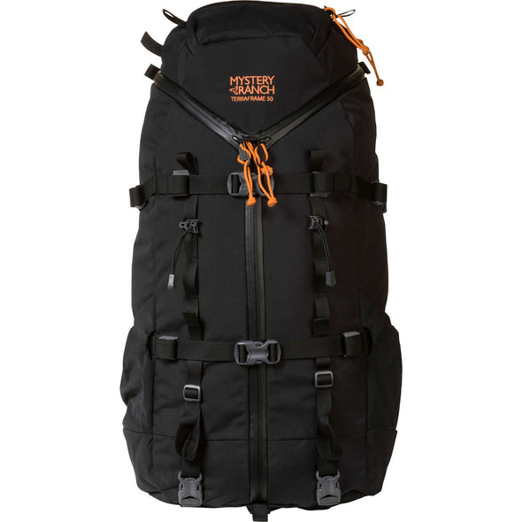 Mystery Ranch Terraframe 3-Zip 50 External Framed Mountaineering Backpack (Black) Front View