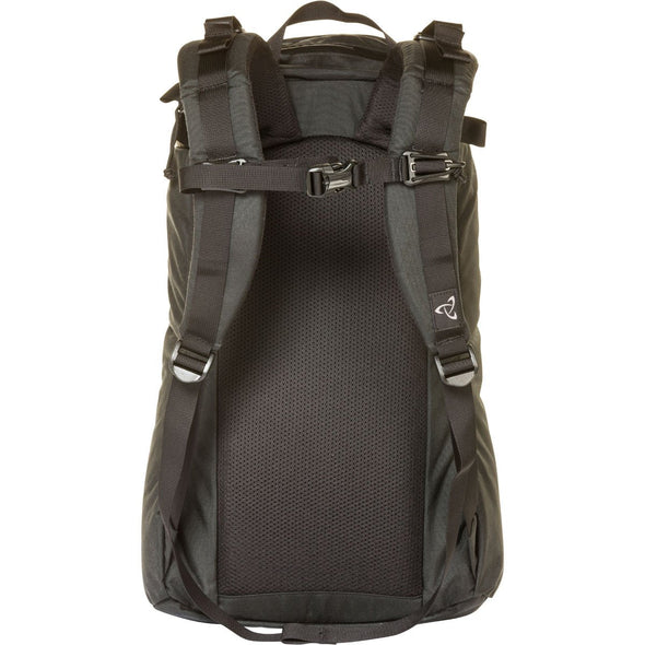 Mystery Ranch Urban Assault 21 Multi-Purpose Day Pack (Black) Rear View Showing Harness