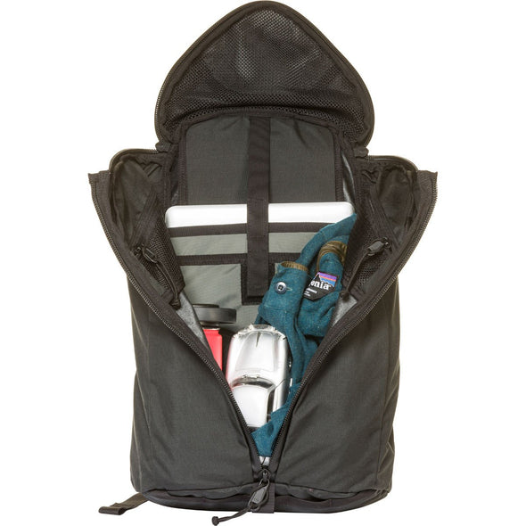 Mystery Ranch Urban Assault 21 Multi-Purpose Day Pack (Black) Open showing Laptop Storage