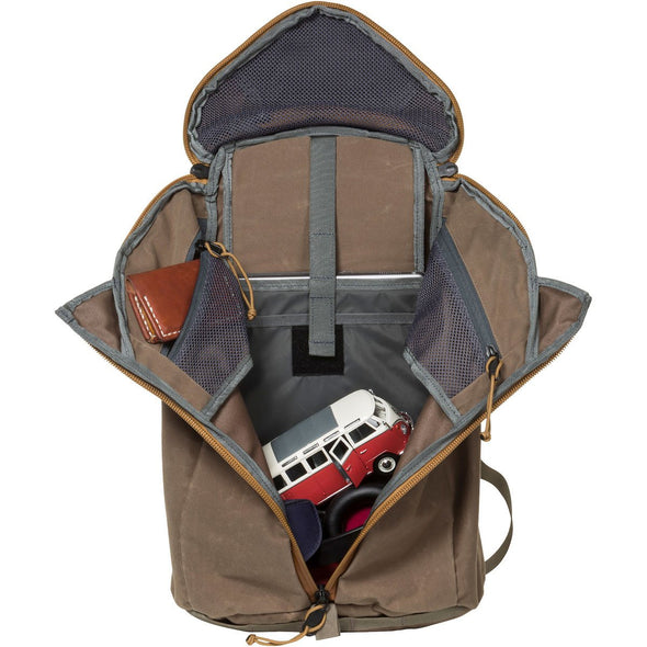 Mystery Ranch Urban Assault 21 Multi-Purpose Day Pack (Wood Waxed) open with Laptop Storage